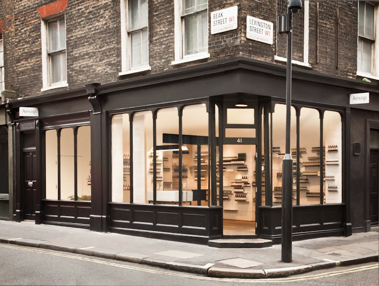 Store exterior photograph of the aesop store in soho shot for Modern furniture stores london