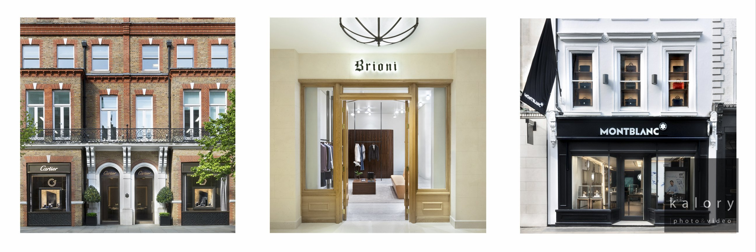Exterior of Cartier Montblanc and brioni boutique